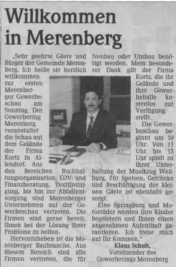 Grußwort des 1. Vorsitzenden Klaus Schuh zur Gewerbeschau 1998