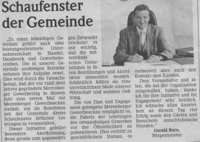 Grußworte des Bürgermeisters zur Gewerbeschau 1998